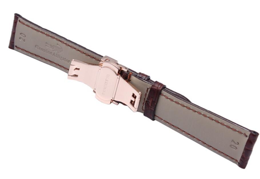 18 мм 19 мм 20 мм 21 мм 22 мм браун из натуральной черный кожи аллигатора ремень браслеты бабочка часы развертывания