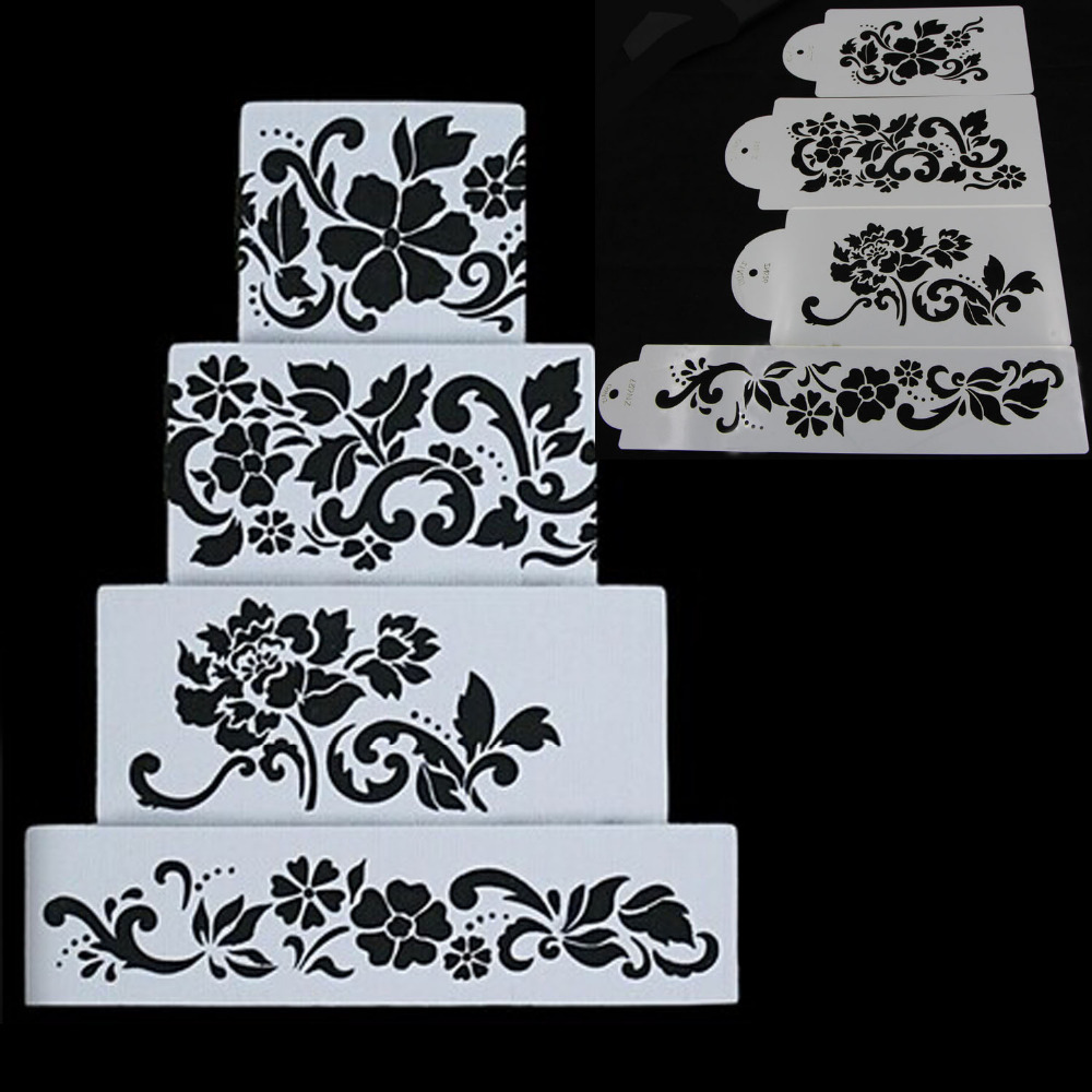 Ferramentas Bolo 4PCS Flowers Fondant Decorating Cake Stencil Kitchen Cupcake Decoration Template Mold Baking Tools For Cakes(China (Mainland))