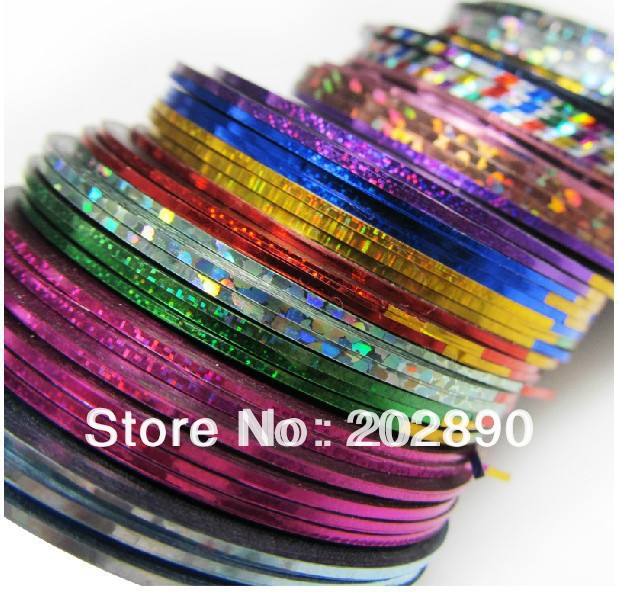96 Rolls/pack 32colors Mix Multicolor Nail Art Foil Stripe Line Rolls Striping Tape Metallic Yarn Line Decoration Stickers Tips(China (Mainland))