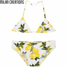Girls Swimsuit Kids Swimwear Summer 2016 Brand Baby Girls Swimwear Toddler Lemon Print Children Bathing Suits Girls Bikini