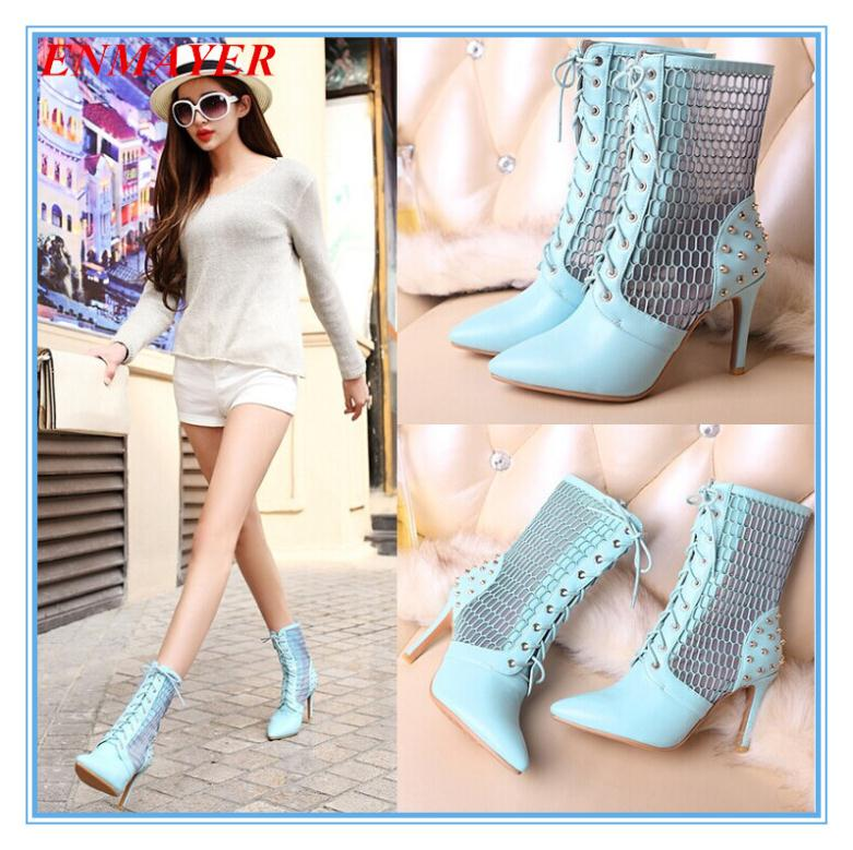 ENMAYER Fashion Pointed Toe Mid-Calf Thin Heels High BOOTS FOR WOMEN Cut-Outs rivets Summer boots 3 color Lace-Up Girl boots<br><br>Aliexpress