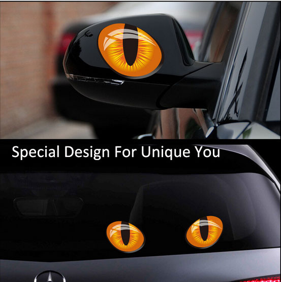 Special (S+L) Funny 3D Cat Eyes Creative Car Stickers Truck Window Decal Sticker Car Door Covers Free Shipping(China (Mainland))