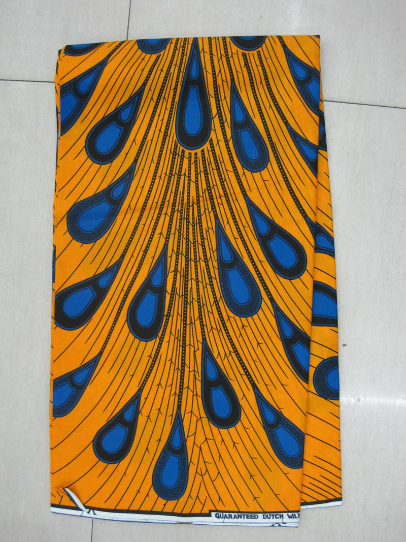 H548 6 yards 100% cotton peacock hollandais guaranteed real dutch wax block prints fabric hollandis(China (Mainland))