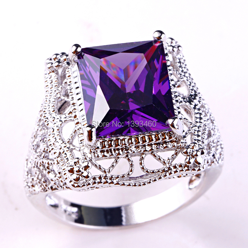 2015 Retro Style Unisex Rings New Fashion Jewelry Purple Amethyst 925 Silver Ring Size 6 7 8 9 10 Free Shipping Wholesale(China (Mainland))