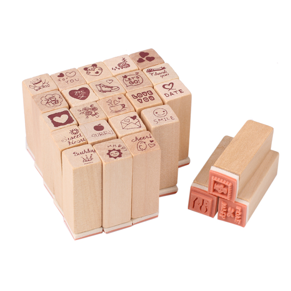 Free Shipping 25pcs Love Diary Rubber Wooden Stamp Set DIY Cards Decoration Stamping with Wooden Box(China (Mainland))