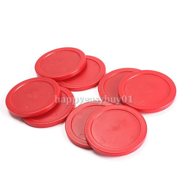 8Pcs 63mm Red Air Hockey Table Pucks Puck Mallet Goalies Children Table H1E1(China (Mainland))
