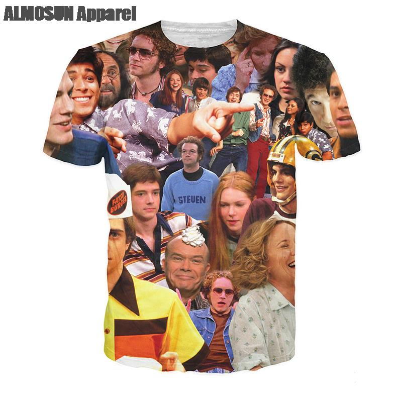 ALMOSUN That 70s Show All Over Print T-Shirt Summer Style Sports Short Sleeve Fashion Street Wear Top Tee Men Women Plus Size(China (Mainland))