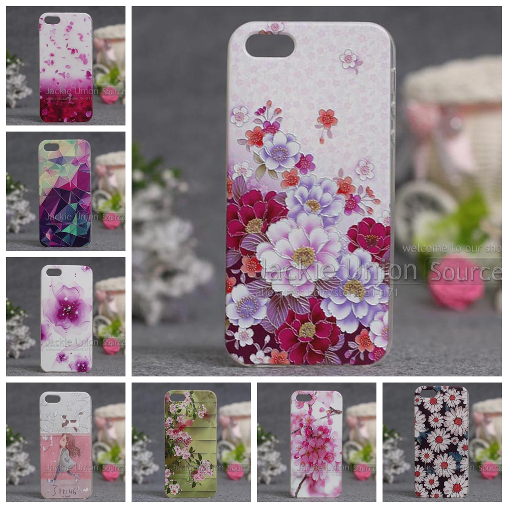Cartoon Print Silicon Back Cover Case iPhone 5s 5 Phone Cases Soft TPU Cover iPhone SE floral Pattern Case iPhone Fundas