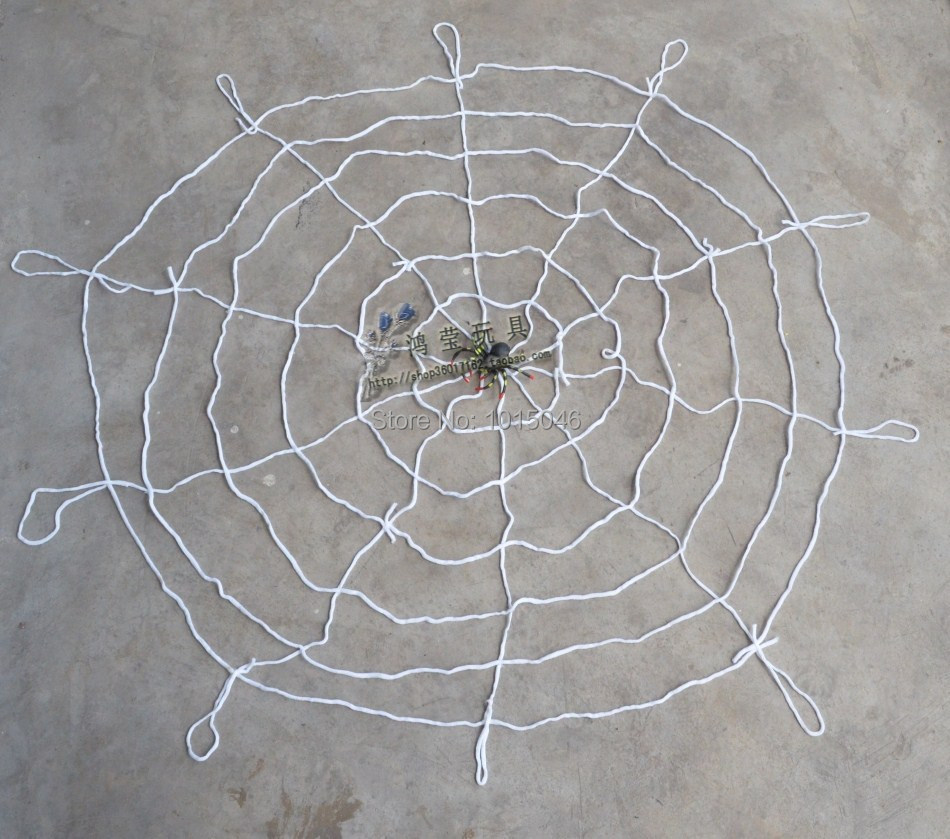 Free Shipping 1X White Window Giant Spider Web Nylon Six Layer 1.5M Spider Web With Spider Halloween Decorations(China (Mainland))