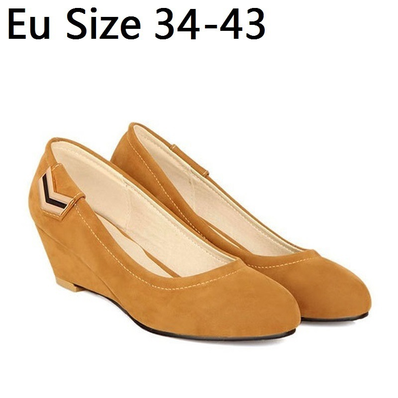 Plus Size 34-43 Suede Sexy High Heels Leisure Women Pumps Ladies Wedge Shoes Woman Chaussure Femme Zapatos Mujer sapato feminino<br><br>Aliexpress