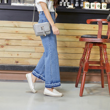 Korean Style Women Vintage High Waist Blue Denim Pants Wide Leg Pants Trousers Causal Loose Calf-Length Pants Jeans(China (Mainland))