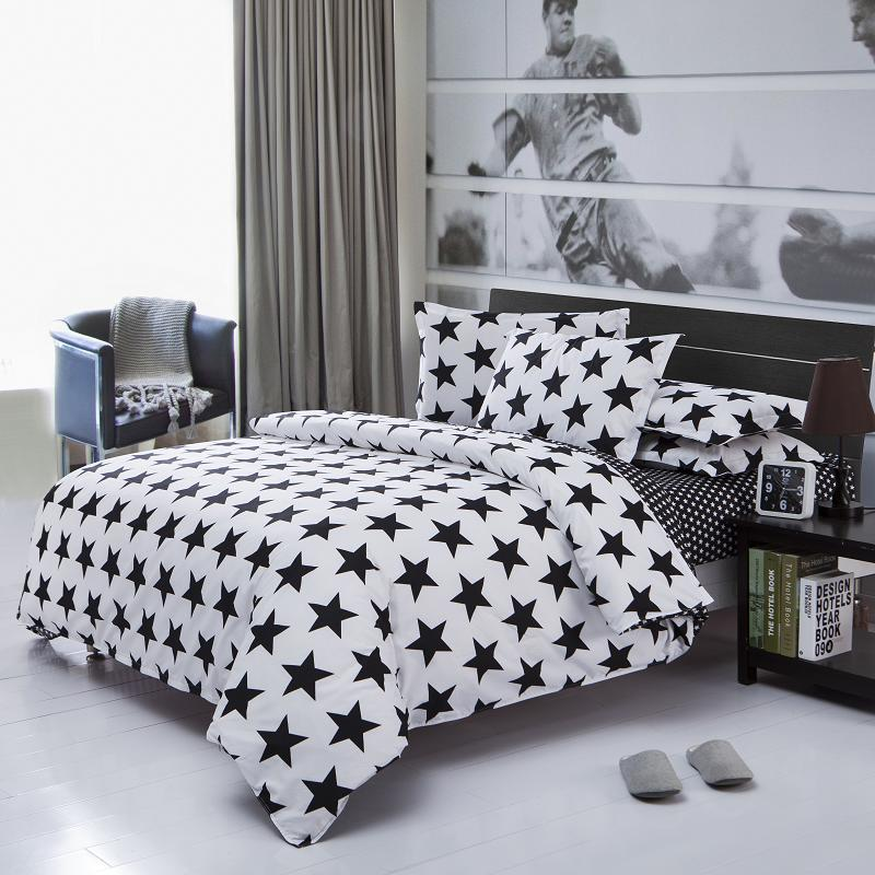 Black White Starry Bedding Sets 3pcs For Twin 4pcs For Full Queen Size Bed set Modern Style Comfortable Beds(China (Mainland))