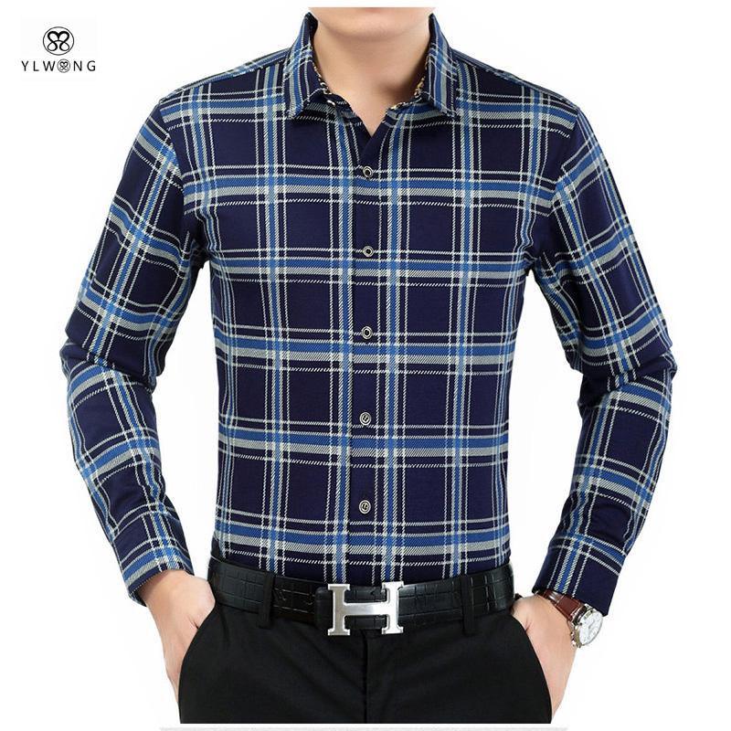 YLWONG Luxury Brand Mens Dress Shirts Flannel Full Sleeve font b Tartan b font Shirt Plaid