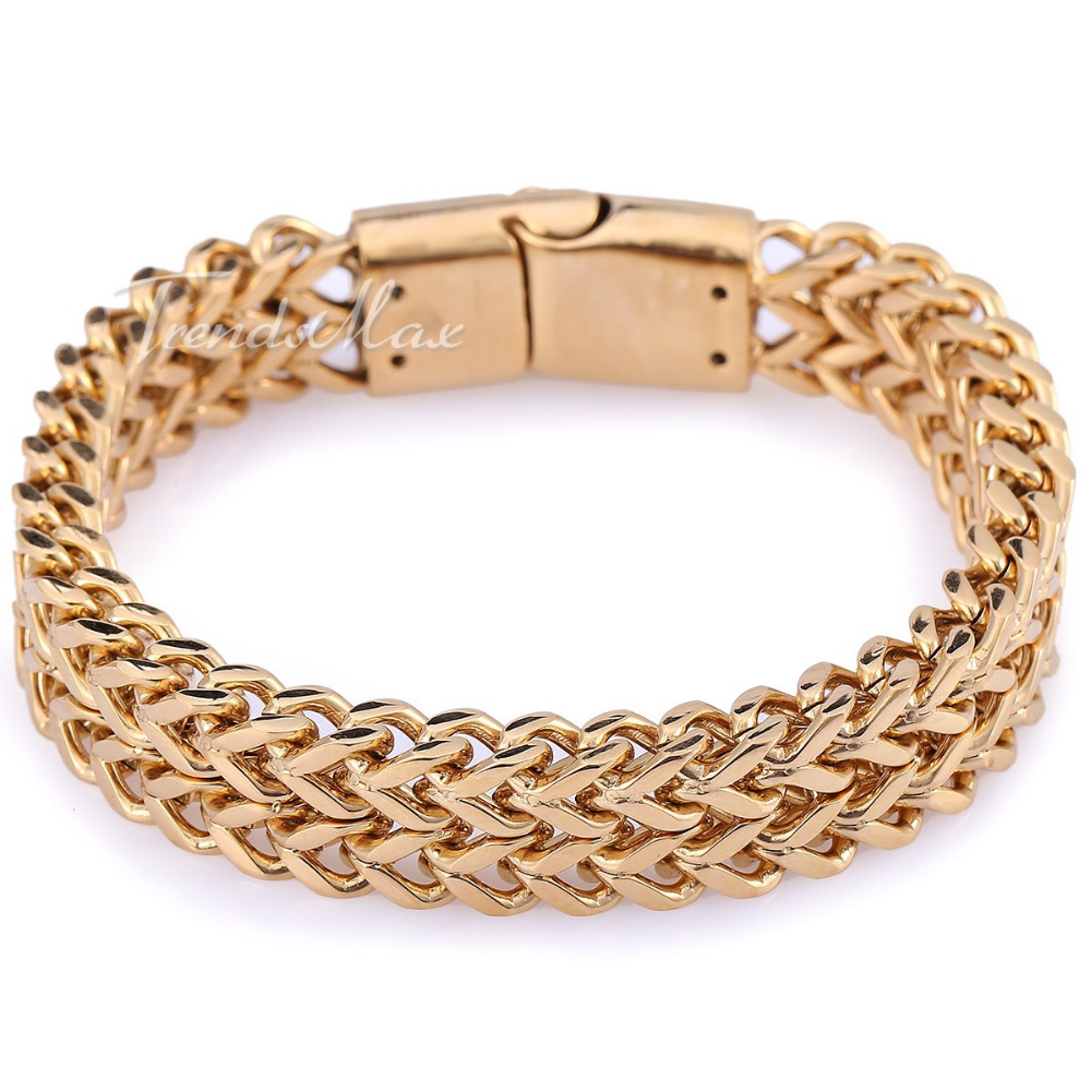 11 12mm Silver Gold Tone Double Foxtail Box Link Mens Chain Boy 316L Stainless Steel Bracelet