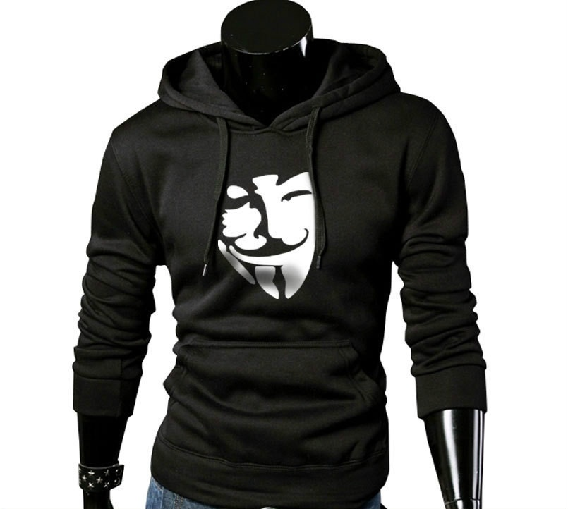 2016 New Winter Men's Hoodies Smail Printed Thicken Pullover Sweatshirt Men Hooded Sportswear Running Hoodie(China (Mainland))