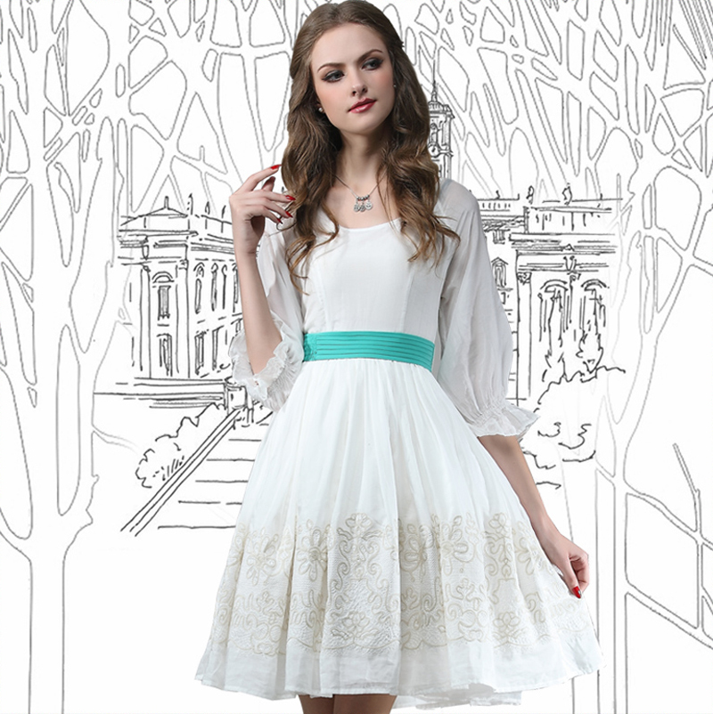 Summer Style Dress 2015 Yuzi Vintage New Cotton Silk Women Dresses High Wasit O-Neck Flower Embroidery 68009 Vestidos Femininos(China (Mainland))