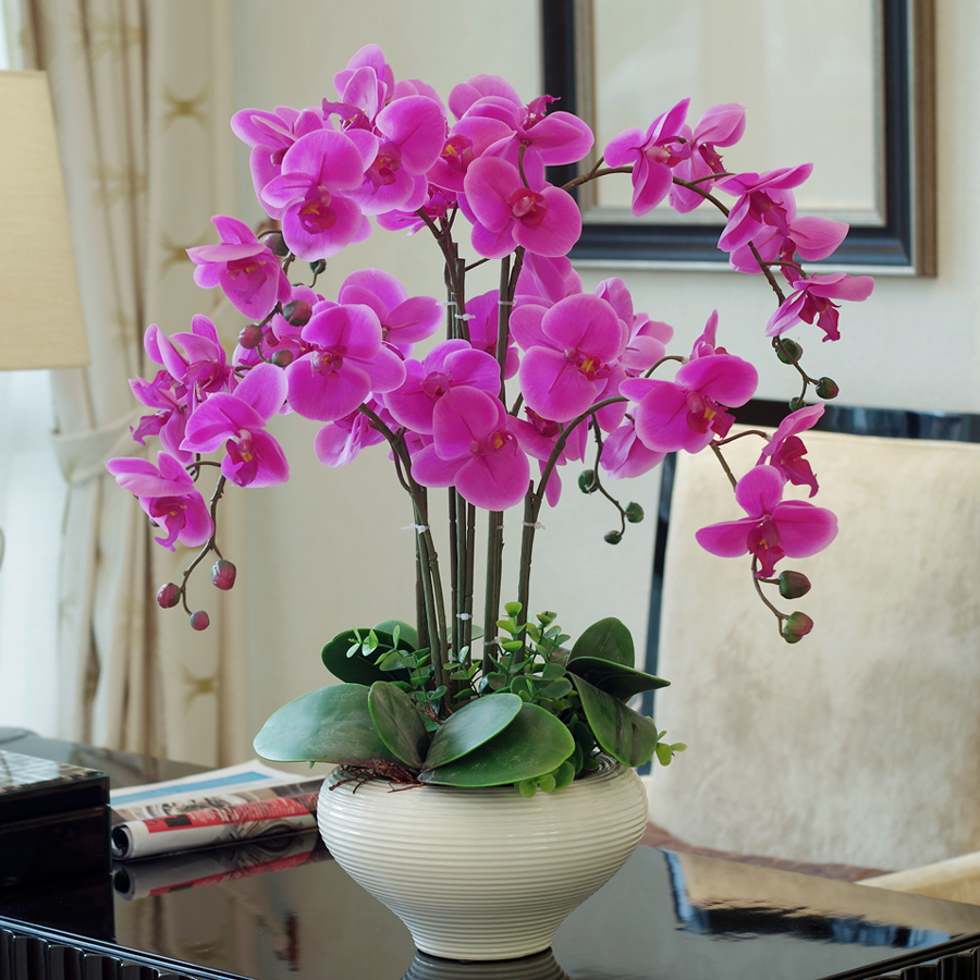Best 4pcs free shipping artificial flower phalaenopsis Artificial flower decoration for home