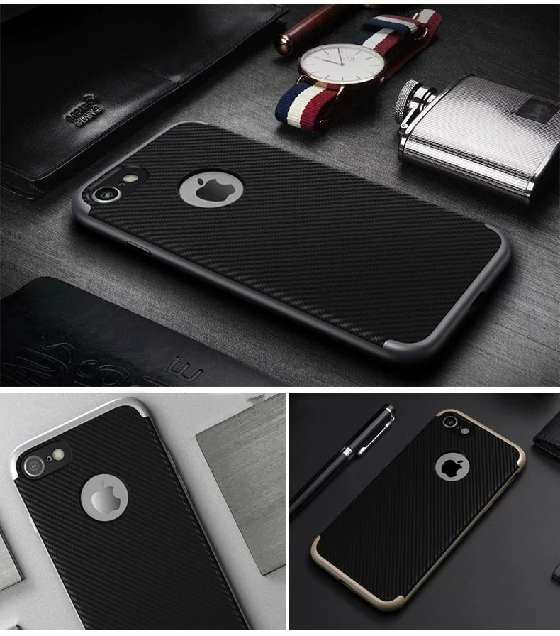 Hybrid Carbon Fiber Case for Iphone 5 5s se 6 6s 7 Plus Samsung Galaxy s6 s7 edge Rugged Silicone Cover Fashion Luxury Man Soft(China (Mainland))