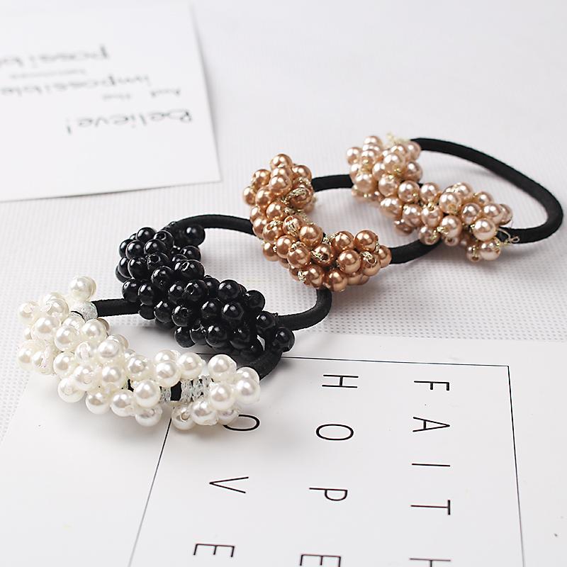 1PC Fashion Korean Style Semi-circle Pearls Beads Hair Rope Girls Hair Accessories Scrunchie Ponytail Elastic Hair Band(China (Mainland))