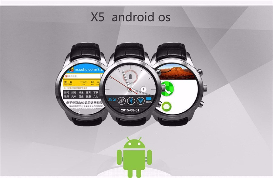 """ถูก ดีเอชแอfreeshipping smart watch 3g x5 k18 android wcdma wifiบลูทูธsmartwatch gps 1.4 """"แสดงผลamoled pk dz09 gt08"""