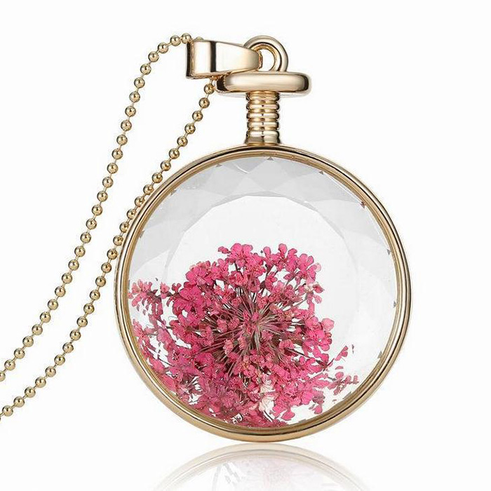 Packages mailed the new 2016 frame transparent glass dry flower pendant perfume bottles crystal necklace speed sell tong(China (Mainland))