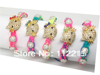 freeshipping   fashion 5PC mix  hello kitty Bracelet Crystal Connectors and beads new shamballa bracelet  Fit  gift  DSCF4824