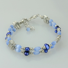 Natural cat eye pearl bracelet female multi-layer vintage crystal braclet(China (Mainland))