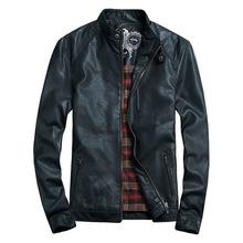 Big Size M-5XL THOOO Super Men Leather Jacket Slim Motorcycle Leather Jacket  PU Mandarin Collar Zipper Solid High Quality 2015(China (Mainland))