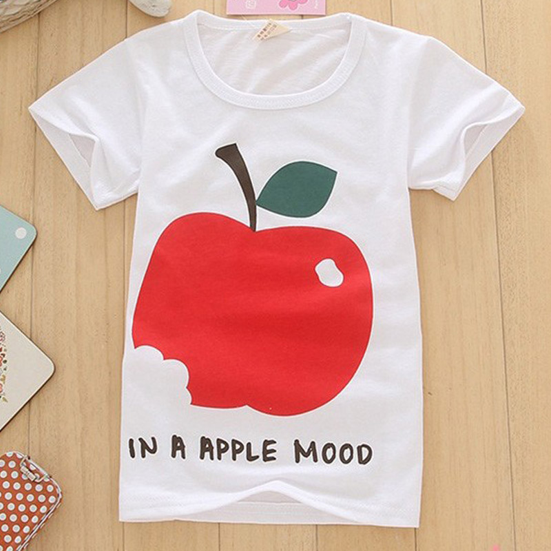 pattern red apple Short Sleeve t shirt Children Boys Clothes T-Shirts For Girls Boys t shirts Kids Baby Children's Clothing(China (Mainland))