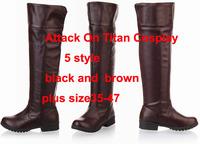 Attack on Titan(Shingeki no Kyojin)Survey corps Levi Rivaille Mikasa Ackerman Eren Jaeger Leonheart cosplay shoes Boots