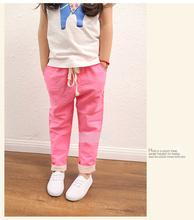 Free shipping new 2015 hot summer boys girls trousers kids harem pants children comfortable Cotton linen