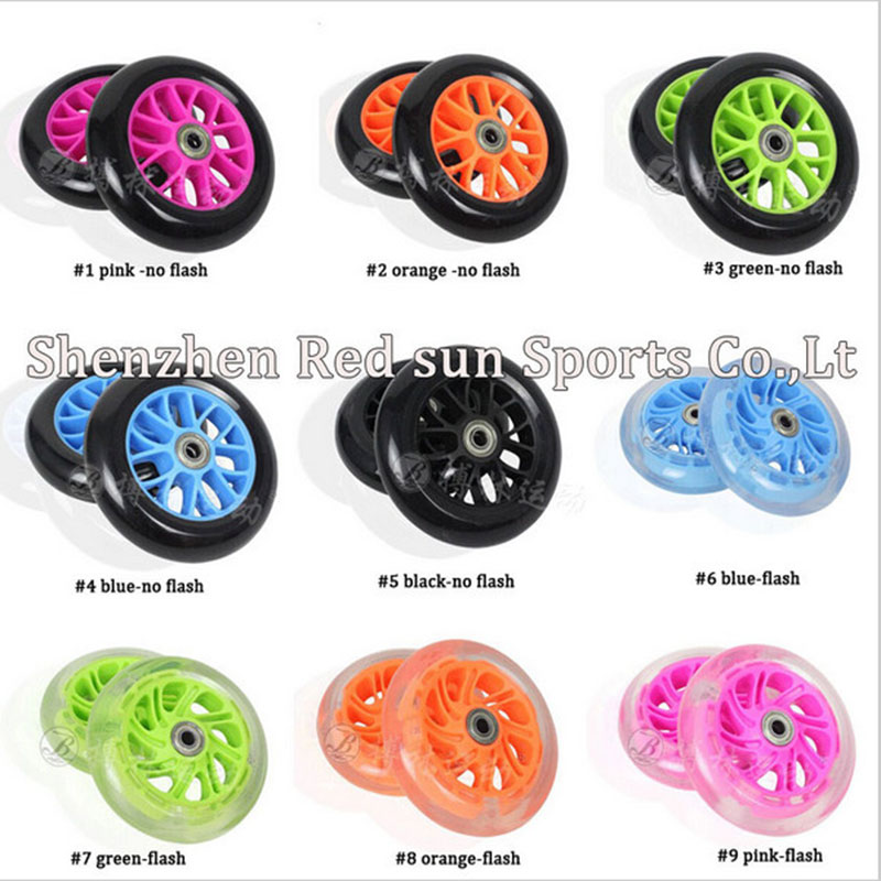 8PCS! Scooter Speed skating PU wheel skates roller children skating shoes wheels wheel 120mm choose color and flash<br><br>Aliexpress