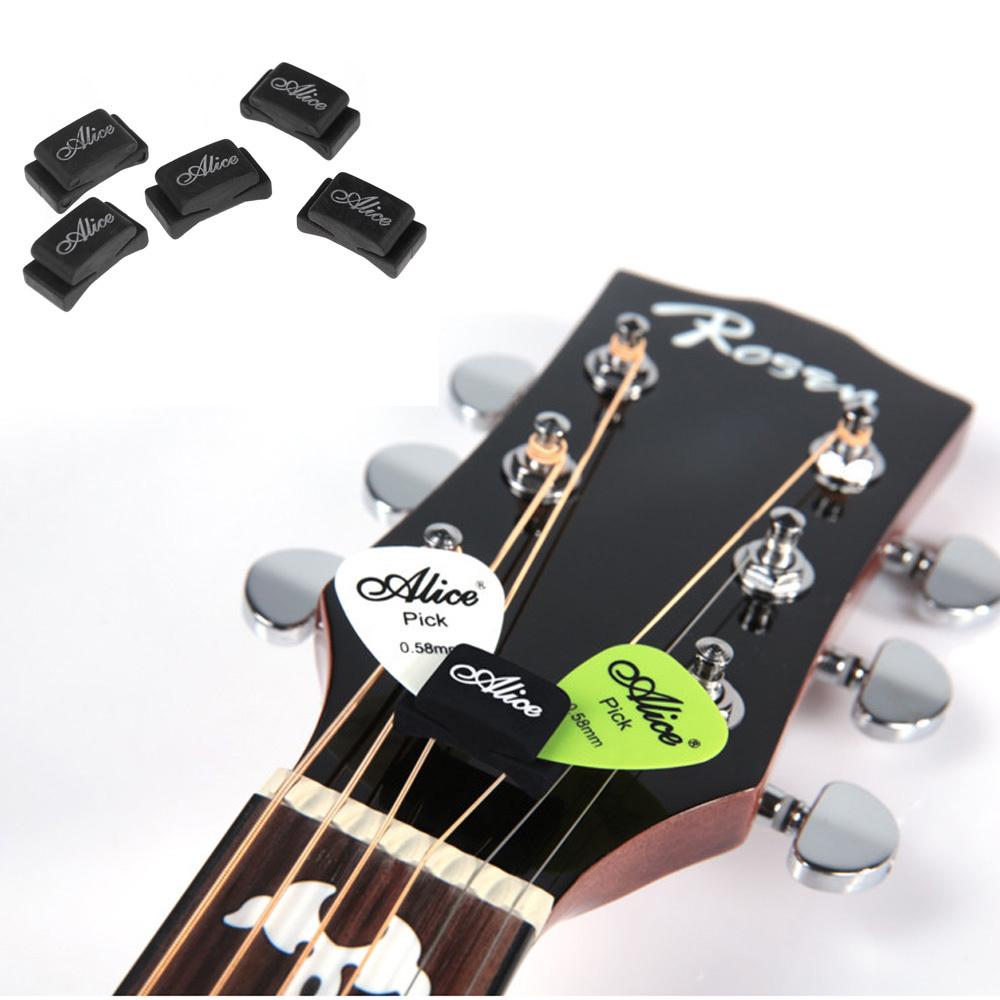 5pcs Black Rubber Guitar Pick Holder Fix on Headstock for Guitar Bass Ukulele Free Shipping - Alice(China (Mainland))