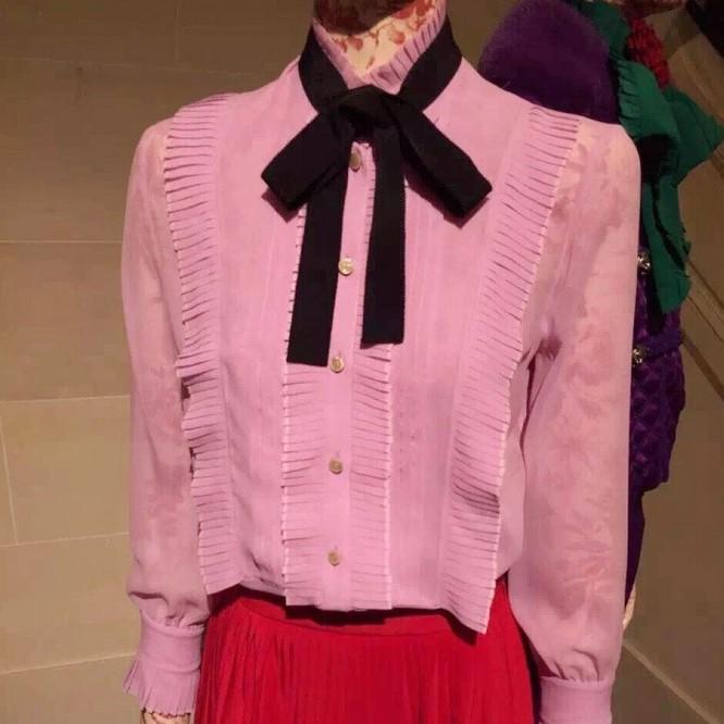 2016 summer long sleeve women's shirts fashion brand designer blouses silk runway tops pink(China (Mainland))