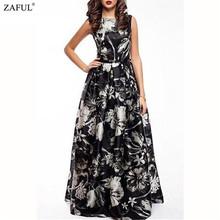 ZAFUL 2016 New Women Long Summer Dress Retro Floral Print Vintage Dress Sleeveless Floor-Length Female Party Maxi Dress Vestidos(China (Mainland))