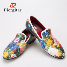 Piergitar new style flower and leaf pattern printing white men loafers wedding and party men dress shoes Fashion men's flats(China (Mainland))