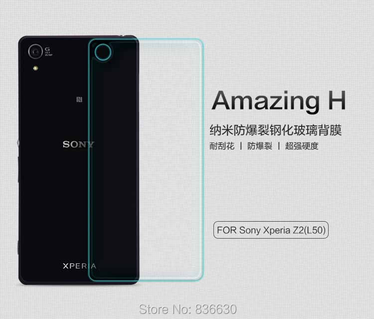 New NILLKIN Amazing H Nano Anti-burst Tempered Glass Back sticker for Sony Xperia Z2 L50 + free shipping(China (Mainland))