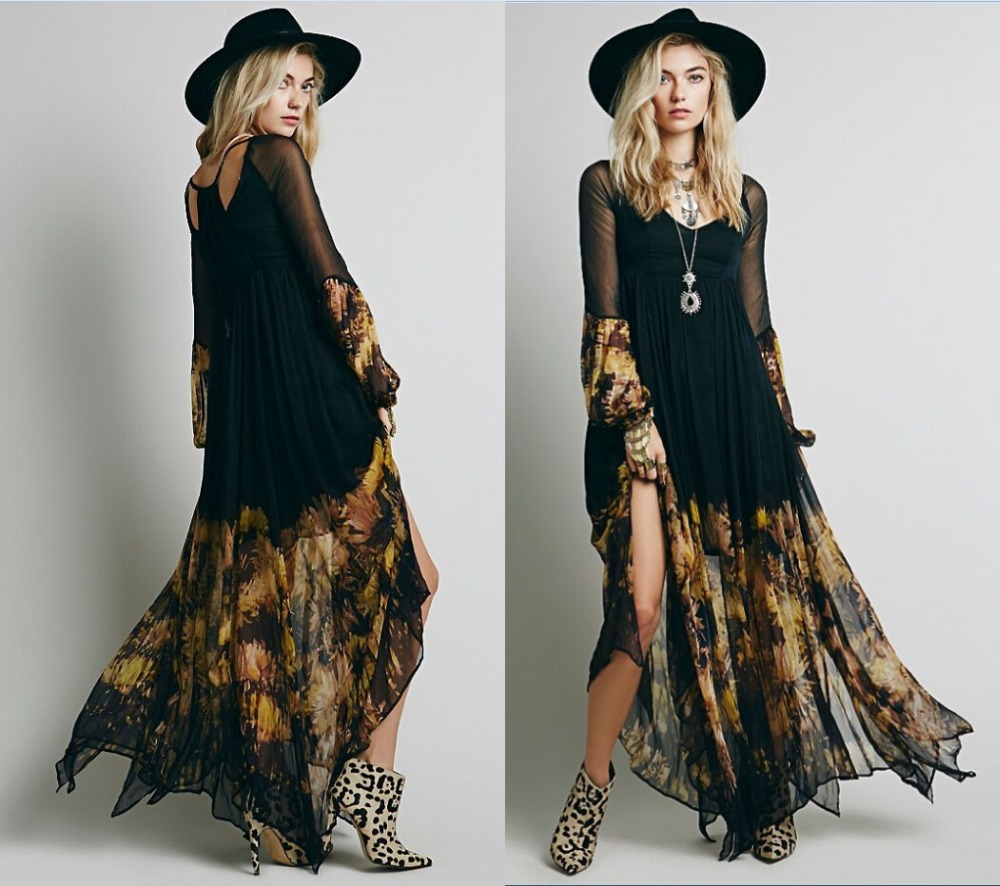 Черное платье в стиле бохо