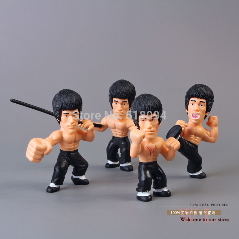 Free Shipping Q Versions Bruce Pvc Action Figure Collectors Edition Toys 4pcs/set Otfg076(China (Mainland))