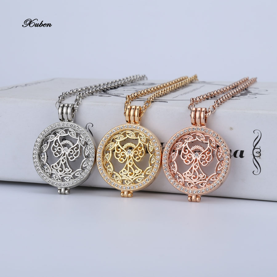 2016 design coin necklace Jewelry silver rose gold Plated Tree angel Pendants & Necklaces My 33mm Coin holder for 35mm locket(China (Mainland))