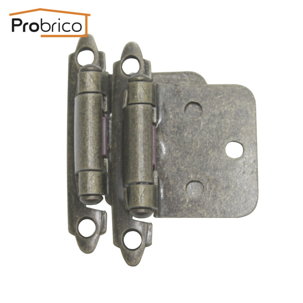 Probrico Wholesale 100 Pair Self Close Antique Bronze Kitchen Cabinet Hinge CH197AB Furniture Concealed Cupboard Door Hinge(China (Mainland))