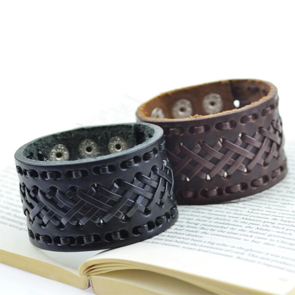 2015 Punk Men Women Wide Genuine Leather Bracelet Handmade Braid Wrap Cuff Bangle Bracelet Brown Black