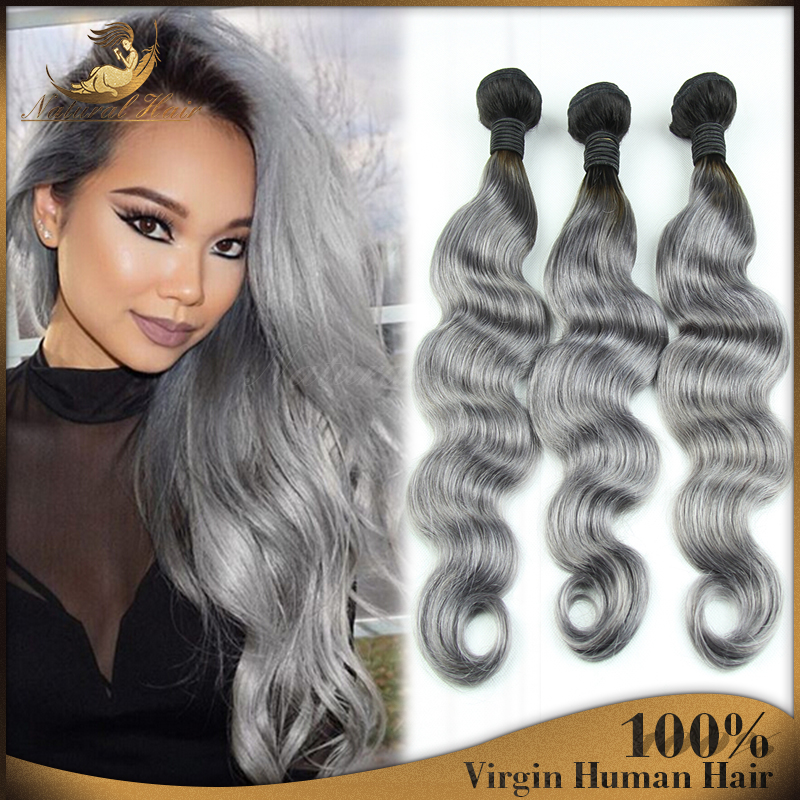 2016New Fashion Grey Ombre Human Real Virgin Hair Объемная волна Human Hair Weft Freeship Brazilian Human Hair Extension