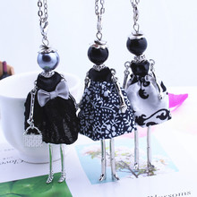 Buy Womens New Design Lovely Black Girl Doll Necklace Cloth Bowknot Dress Princess Pendant Chain Long Necklace Jewelry store Gifts for $2.45 in AliExpress store