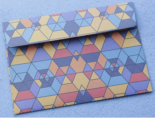 standard size 5 pcs/set blue geometrical shape design printed envelopes fit for post card 175x125mm /pc(China (Mainland))