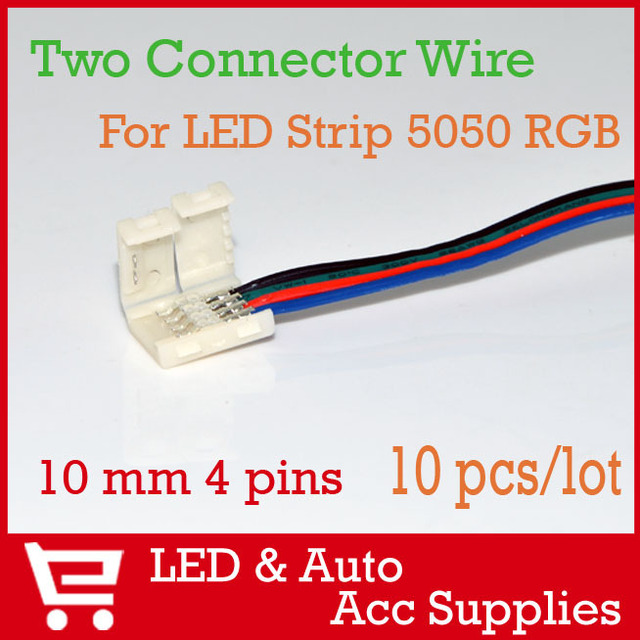 10pcs/lot 10mm 4 pin Two Connector with Wire For LED Strip SMD 5050 RGB , No Welding FREE SHIPPING [BXB-4] LED008