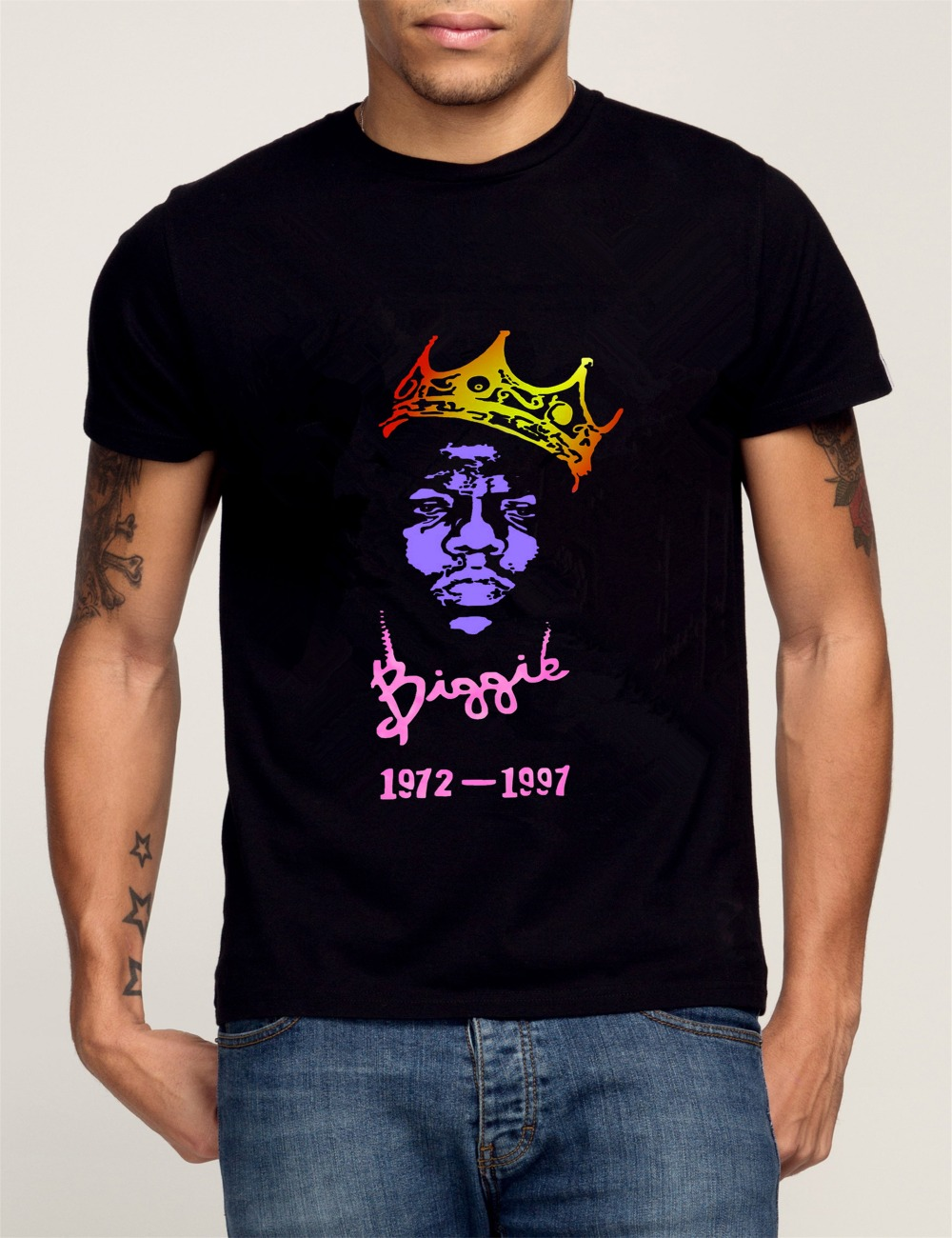 Biggie 2pac 2015 new diy fashion 100 cotton printed o for Diy tee shirt printing