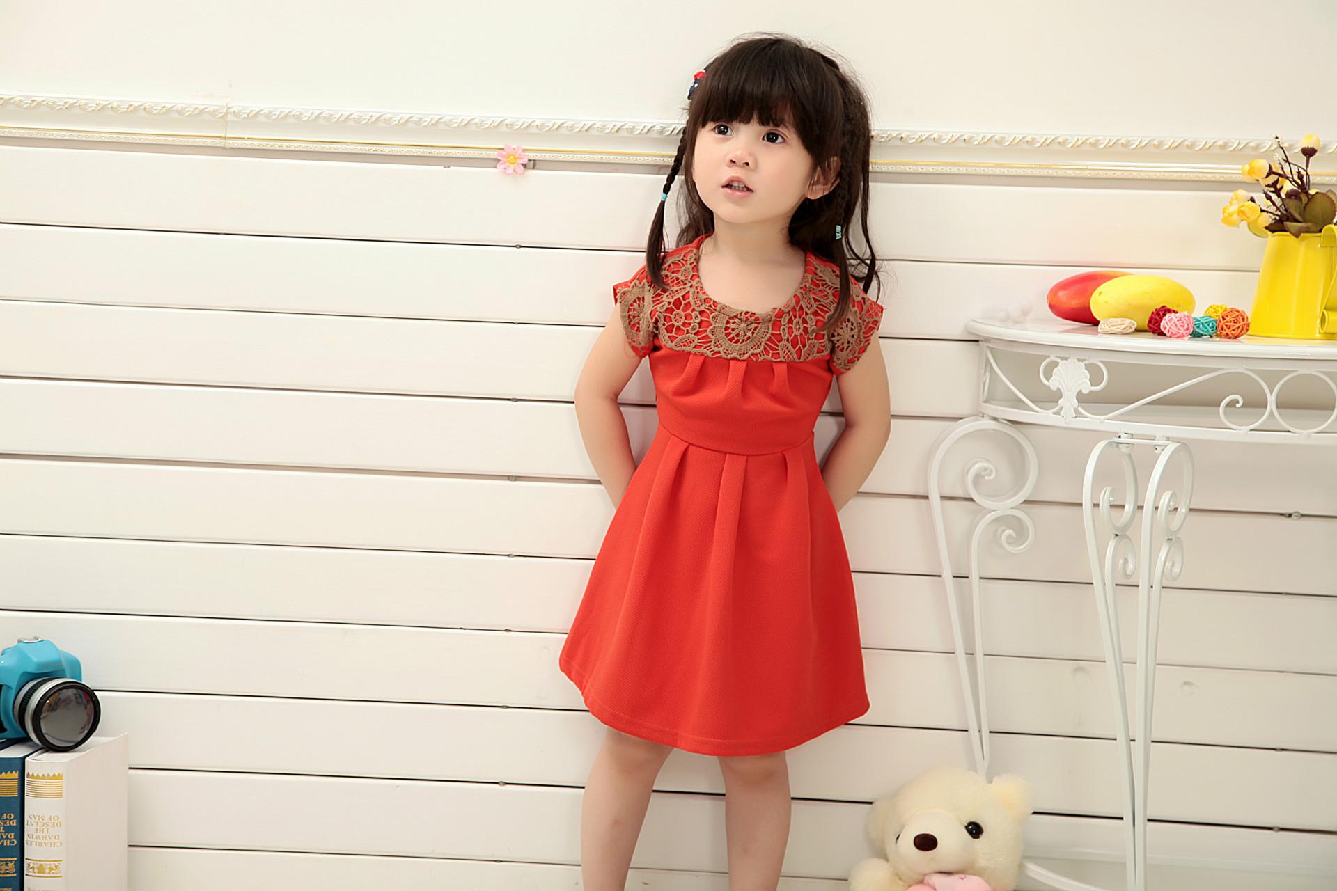2015 Summer Style European Red China Lace Princess Girl Dress Kids Evening Wedding Party Dress Toddler Girl Clothing SHCYCC75(China (Mainland))