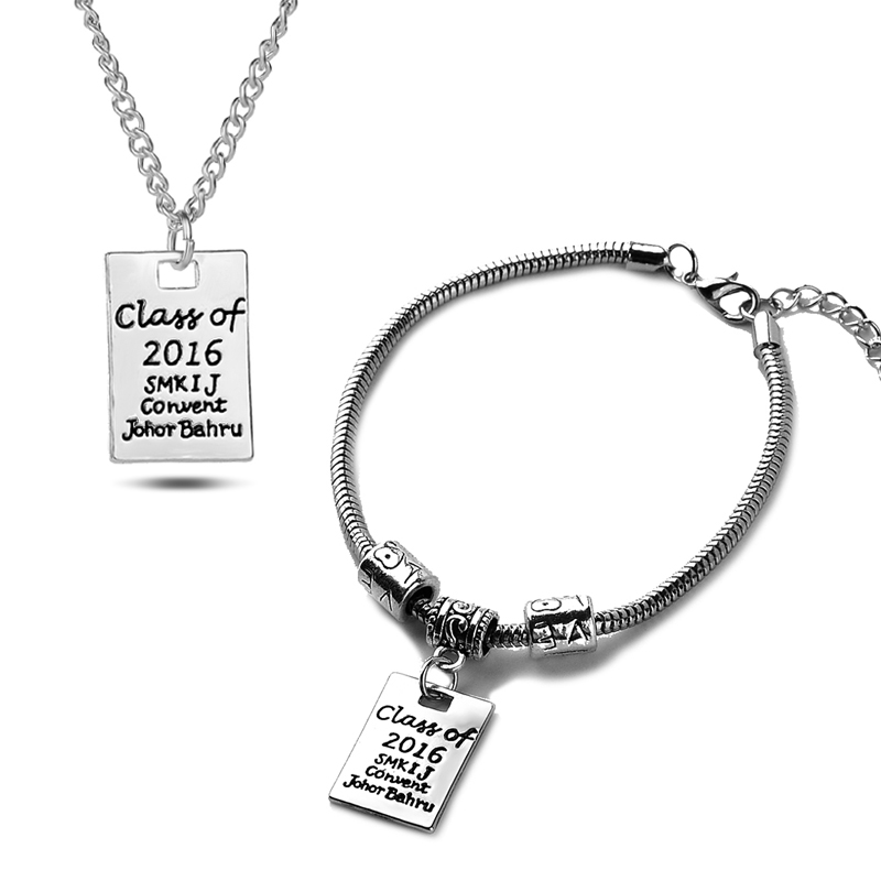 Graduation Gift For Teacher And Student Class Of 2016 Inspired Graduate Pendant Necklace Chram Bracelet Women Men(China (Mainland))