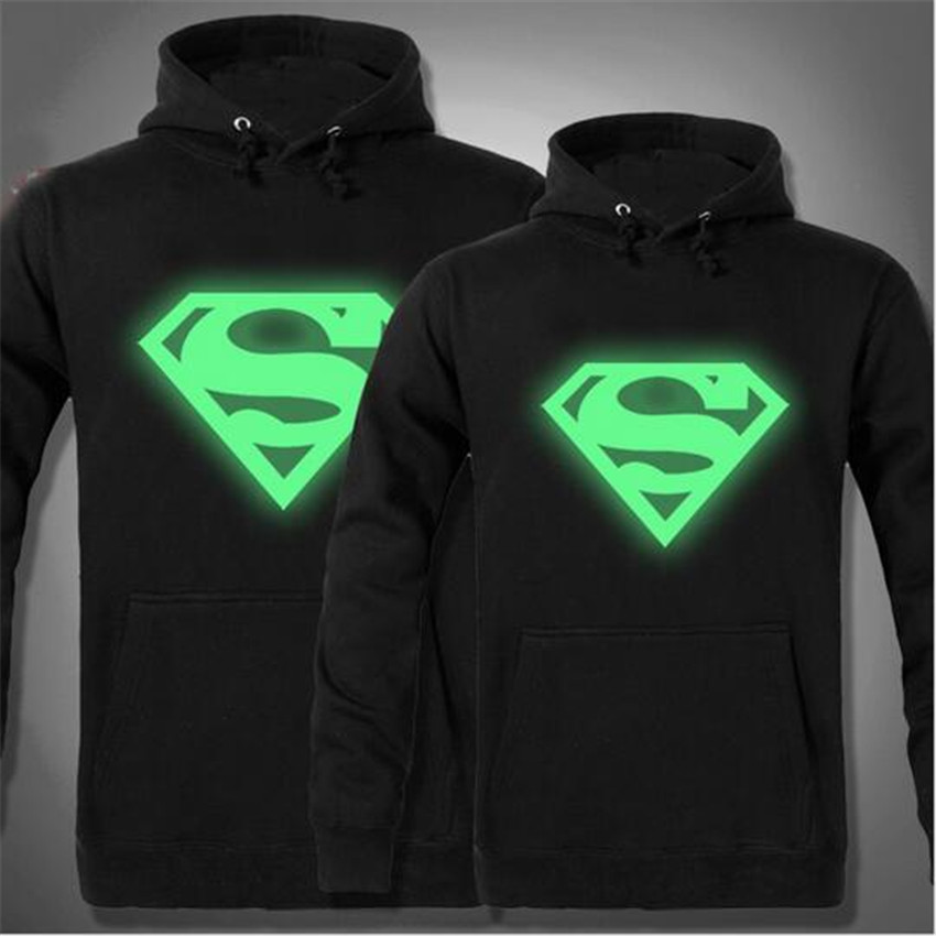2016 New Men's Skateboard superman Hoodies Men Hip Hop Sweatshirts Man Fleece Hoody Pullover Sportswear Noctilucent jerseys(China (Mainland))